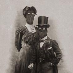 Fancy Couple | Flickr - Photo Sharing! #couple #white #muller #black #masks #illustration #heiko #and #odd #drawing