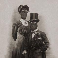 Fancy Couple | Flickr - Photo Sharing! #illustration #couple #black and white #drawing #masks #odd
