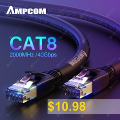 AMPCOM #STP #CAT8 #Ethernet #Cable #High #Speed #Patch #Cable #with #Gold #Plated #40Gbps #for #5G #PS4 #Xbox