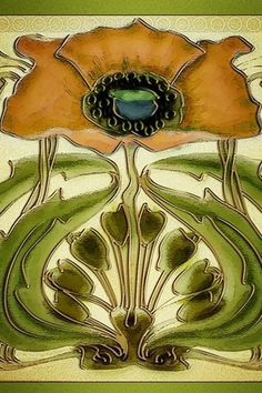 Art Nouveau Tile Wallpaper | Flickr - Photo Sharing! #nouveau #illustration #art