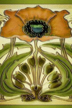 Art Nouveau Tile Wallpaper | Flickr - Photo Sharing! #illustration #art nouveau