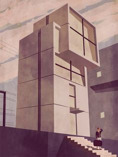 © Giordano Poloni Climbing in Love. Illustration | Illustration #concrete #illustration #building #architecture #cubism #art #modernism #beauty