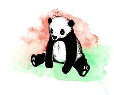Un panda en noir et blanc sur un fond coloré #panda #ink #watercolor
