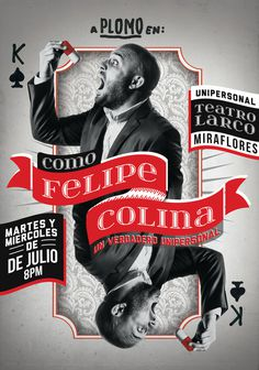 Como Felipe Colina #card #magic #poster #show #peru #typography