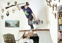 Skateboard art with fireplace in the interior #interior #kateboard #art #skateboard #villa #kate