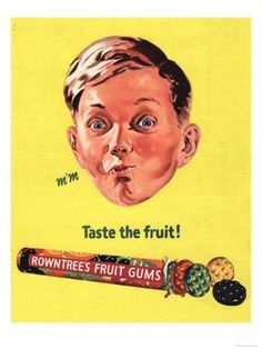 rowntree-s-fruit-gums-sweets-uk-1950.jpg 338×450 pixels #rowntrees #kid #fruit #the #vintage #poster #taste