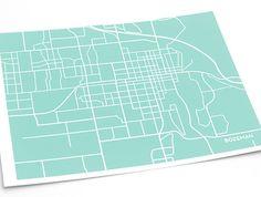 Bozeman City Map Art Print / Montana State University Grad Gift Dorm Decor MSU / 8x10 Digital Print / Choose your color #city