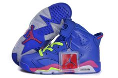 Air Jordans VI 6 (GS) Retro Shoes For Women Royal Blue - Neon Green Neon Pink