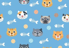 Seamless Cute Cat Pattern On Blue Background