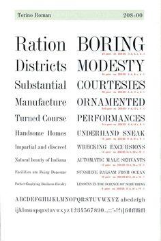 A vintage type specimen of the Torino Roman font by Nebiolo. #type specimen #font