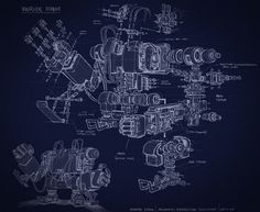 Andrea Susini works: robot schematic - exploded view #illustration #exploded #blueprint #technical #view