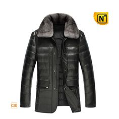 Padded Down Leather Coat with Fur Trimmed Collar CW860010 #padded #down #coat
