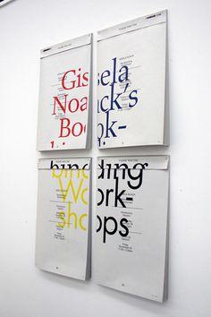 Gisela Noack's Bookbinding Workshops Poster Daniel Joseph Harding #print #perforation #typography