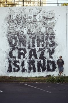 — HELP STUCK ON THIS CRAZY ISLAND! #askew1 #graffiti #illustration #art #typography