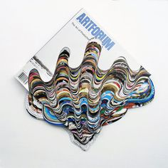 Artforum Magazines Carved into Dripping Waves of Color by Francesca Pastine #sculpture #paper #art