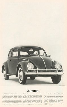 Lemon. Advertising classic for VW by DDB