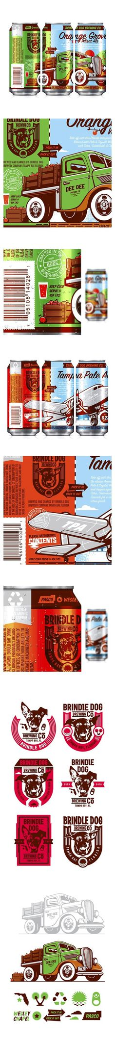 Brindle Dog Brewing Co. #beer #packaging #florida #illustration #cans