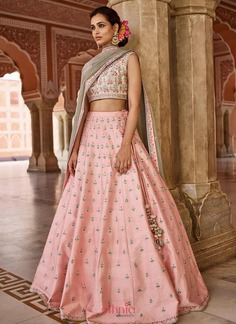 lighter shade pink bridal lehenga