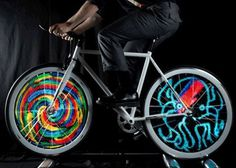 The Monkey Light: LED Bicycle Wheel Display System is a bike wheel that can display images and animations on your bike wheel as you ride. #bicycle #design #product #industrial #led