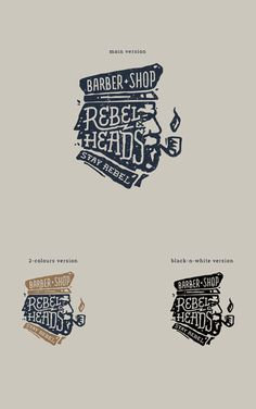 REBEL HEADS barbershop on Behance by Leta and Dima Stolz #illustration #drawn #logo #hand #typography