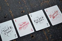 The Suits Typography from The Type Deck - Typography Playing Cards