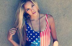 ANGELO SGAMBATI | LUST NATION #girl #flag #photo #american #photography #blonde #tanktop #america