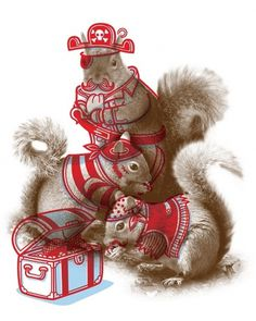 Philip Tseng | minicubby.com #illustration #squirrels #animals