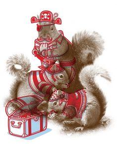 Philip Tseng   minicubby.com #illustration #squirrels #animals