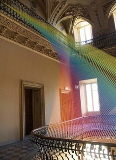 Agora exhibition and textile art installation of Gabriel Dawe #art #exhibition #art installation #textile #textile art installation #textile