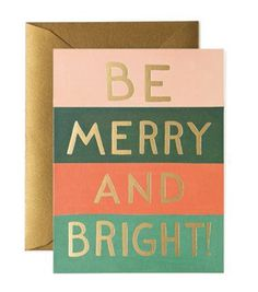 Be Merry and Bright Color Block Card #minimal #gold