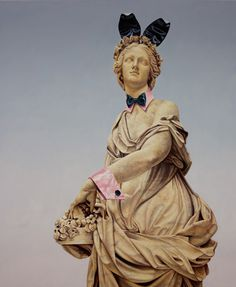 Matthew Quick Artist - Object of Beauty #monument #oil #painting #playboy #bunny #statue #parody
