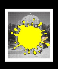 Artwork — jackwalsh #temple #white #and #yellow #black #paint #poster #art #cartoon #band #leaves