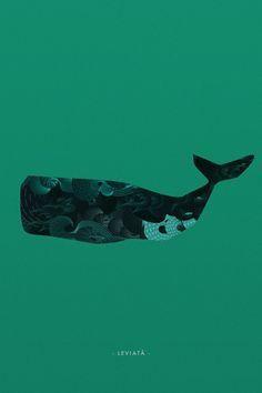 Leviatã Poster illustration design by Emilio Jiménez. Criatura mitológica, geralmente de grandes proporções, bastante comum no imaginá #whale #illustration #sea #poster