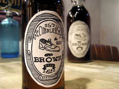Cobbler's Brown - Great naive-style illustrations, give a real homemade feel. #beer #old #sgt #cobblers #bottle #label #brown