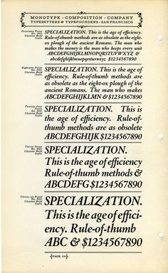 Monotype's version of Cloister Bold Italic by Morris Fuller Benton are shown in this 1920s type specimen.Buy Cloister at MyFonts.