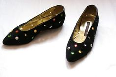 Walter Steiger 90s MultiColored Grommet Black Flats by kokorokoko #walter #shoes #color #black #90s #steiger #italy