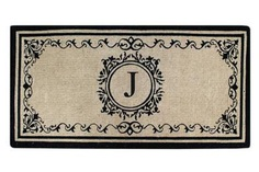 """Create your own style with this decorative Border Coco Fiber Door Mat. Durable and beautiful, this mat keeps shoes clean to protect your floors from mud, dirt and grime. It is flexible, robust and durable. This mat provides exceptional brushing action on footwear with excellent water absorption. Specification - Monogrammed Double Doormat with (J-Letter). Product Dimensions - *36"""" x 72"""" x 1.5"""""""