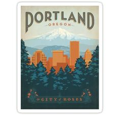 """Portland, the city of roses"" Stickers by natalieswan 