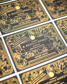 Black and Gold Foil Art Deco Birthday Party Invitations by One and Only Paper