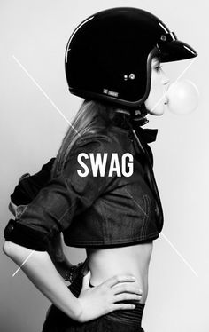 Minimal Swag #swag #blackwhite #girl #pop #bubble #helmet #minimal #poster