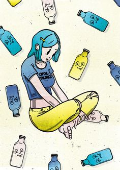 #illustration #girl #japan #osaka #manga #bottles #fun #colour #illustrator #color #cool #graphic #art #texture #character
