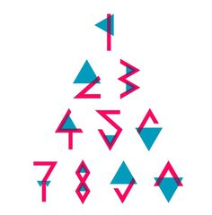Triangle font pt. 2 on the Behance Network #graphic design #typography #colors #blue #pink #font #numbers #1 2 3
