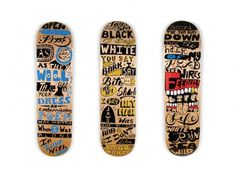 Painted Decks #folk #deck #wood #handmade #art #painting #music #type #skateboards #typography