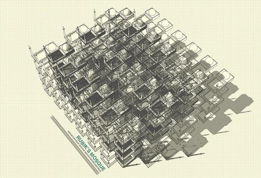Rubik's Mosque on the Behance Network #onat #digital #rubiks #architecture #art #ktem #mosque #cube