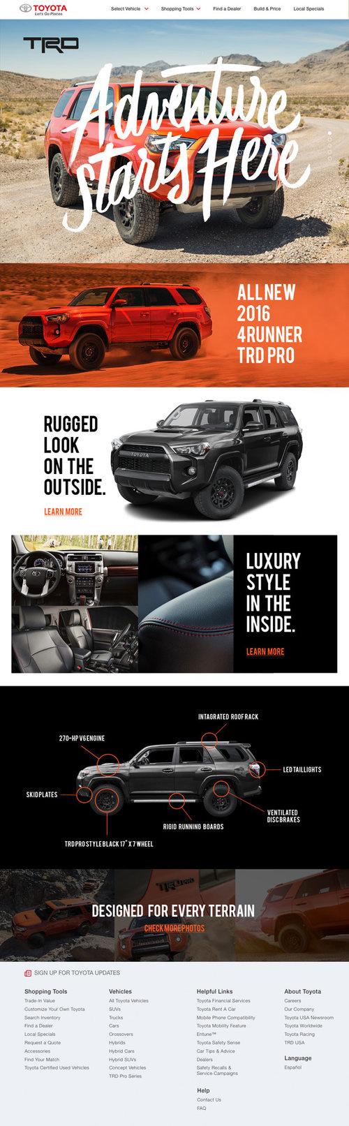 Toyota 4Runner Landing Page #web #design #UX #car