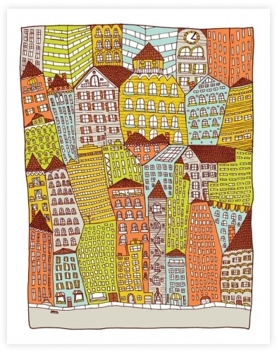 NateDuval.com: the heart of the city #print #city #hand #drawn #duval #art #nate #giclee #patterns