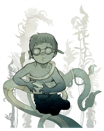 The Curious Exhibition on the Behance Network #boy #illustration #anime #water