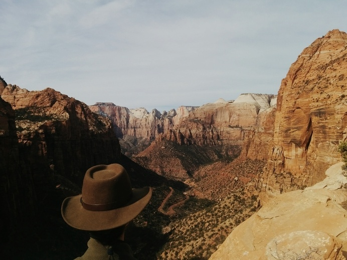 Canyon Overlook, Zion National Park, Feb. 2014 - Photo By Brain Faini #rock #land #earth #utah #hat #leather #natural #zion #canyon #desert