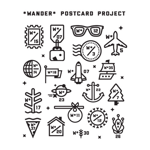 Series of marks for the Wander Postcard Project. #icon #logo