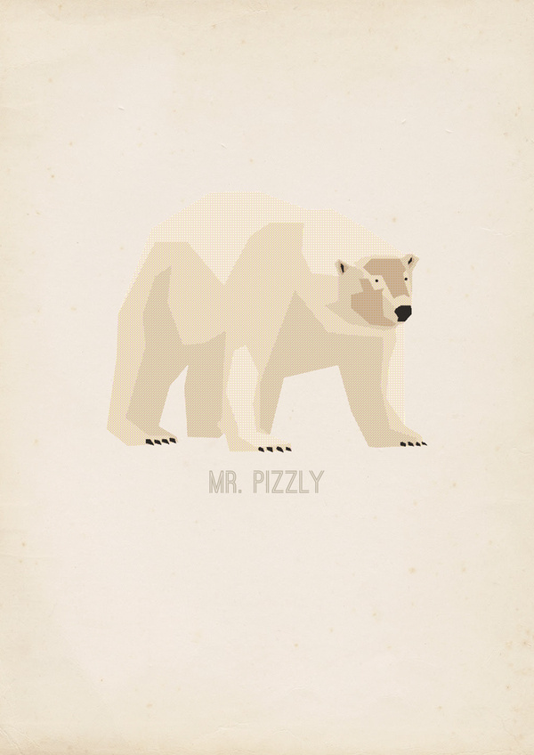 Mr Pizzly - Hadrien Degay Delpeuch #pizzly #vector #print #paper #illustration #gif #poster #bear #animal